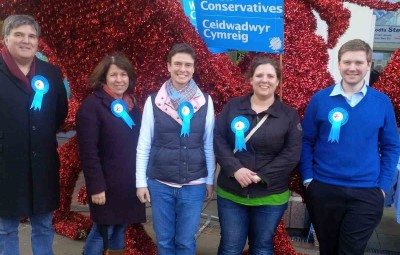 Llanelli Conservatives with campaign dragon