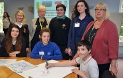 Pictured are pupils (left to right, seated) Millie Thomas from Tasker Milward School, Tegan Foley from Greenhill School, and Joe Wiggins from Pembroke School (standing) Marged Rees from Ysgol y Preseli, Tomos Evans from Ysgol Bro Gwaun and Rowan Staden-Coats from Sir Thomas Picton School. They are pictured with Kate Evan-Hughes, Director for Children and Schools (left) and Cllr Sue Perkins. Unable to be in the photograph was a representative from Ysgol Dewi Sant.