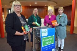 Pictured at the County Hall foyer drop-off point are: Councillor Sue Perkins; Tirzah Redman; Councillor Pat Davies, Chairman of Children and Families Overview and Scrutiny Committee and Nichola Jones, Head of Inclusion.